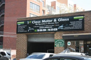 Side View of the Banner - 1st Class Motor Ad