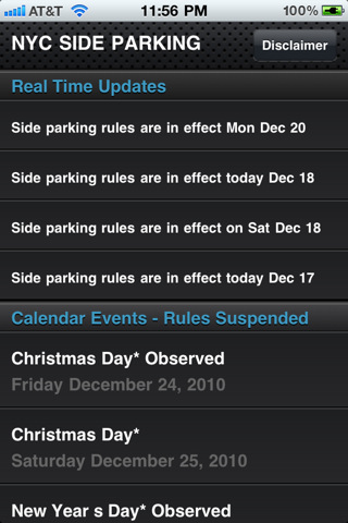 iPhone 4G - City Calendar events listing for Parking