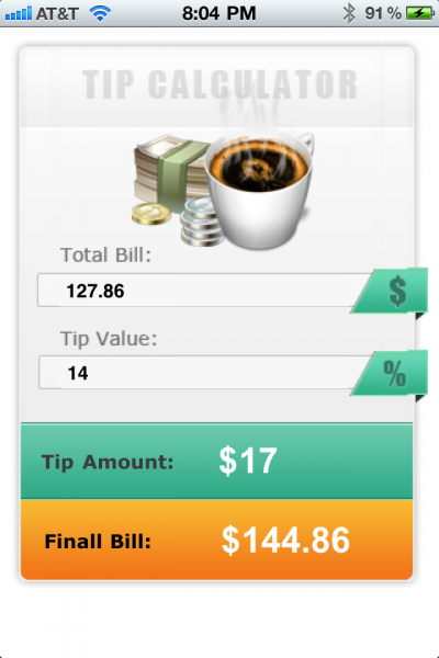 iPhone Restaurant Tips Calculator App