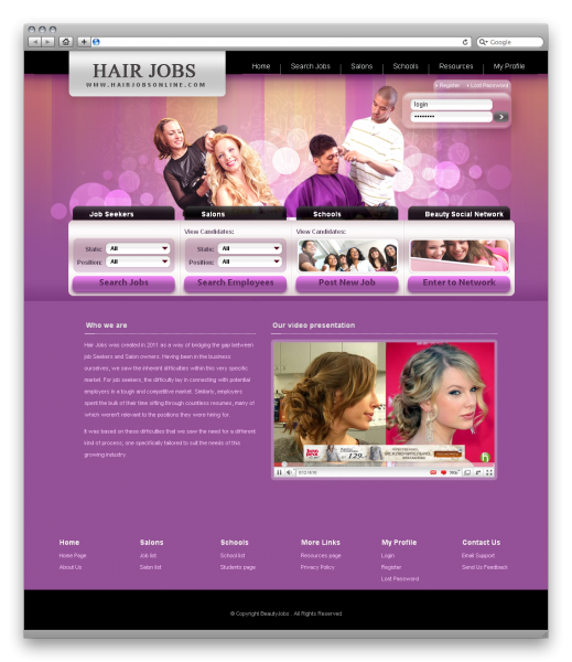Beauty Employment - Salon and Barbers Website 